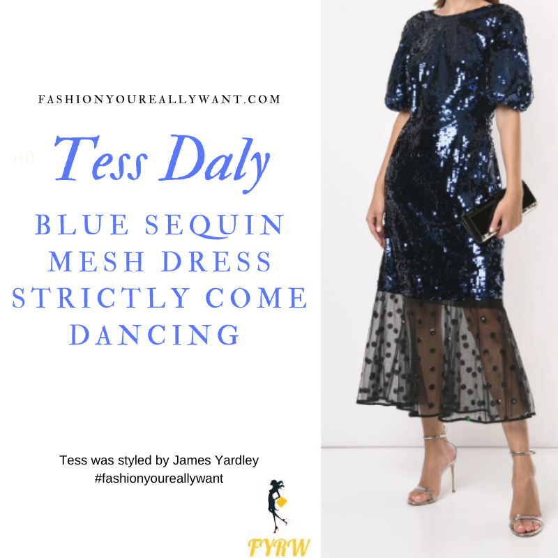 Tess Daly Wore This Blue Sequin Mesh Dress on Strictly Come Dancing Week 8 Results Show outfit blog November 2019