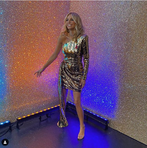 Tess Daly gold sequin one sleeve mini dress Strictly Come Dancing November 2019 Photo James Yardley