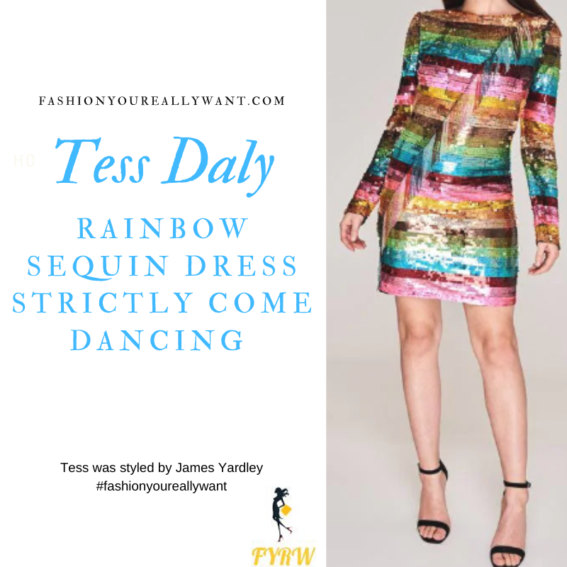 Tess Daly Wore This on Rainbow Sequin Dress Strictly Come Dancing Week 11 outfit blog November 2019