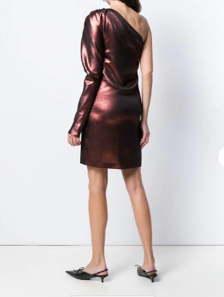 Victoria Beckham metallic one-shoulder dress back view