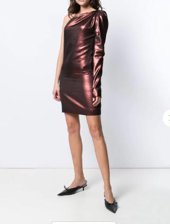 Victoria Beckham metallic one-shoulder dress