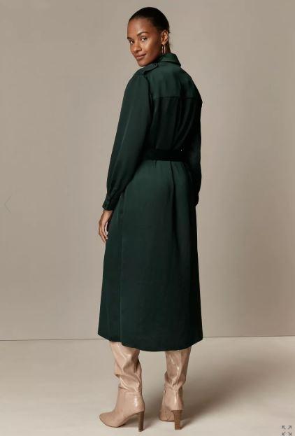 Wallis Green Utility Shirt Dress back view