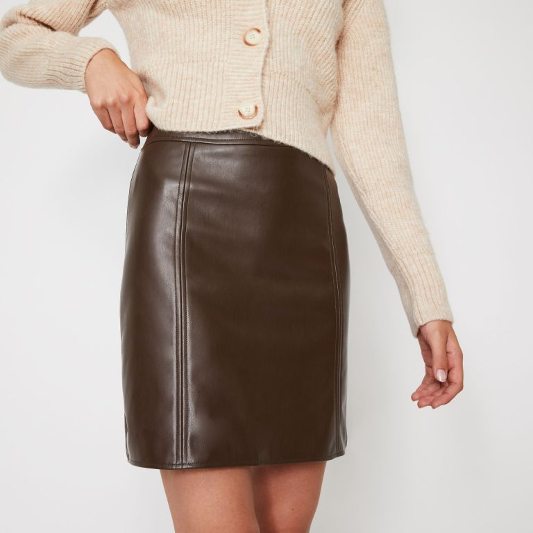Warehouse Faux Leather Seamed Mini skirt