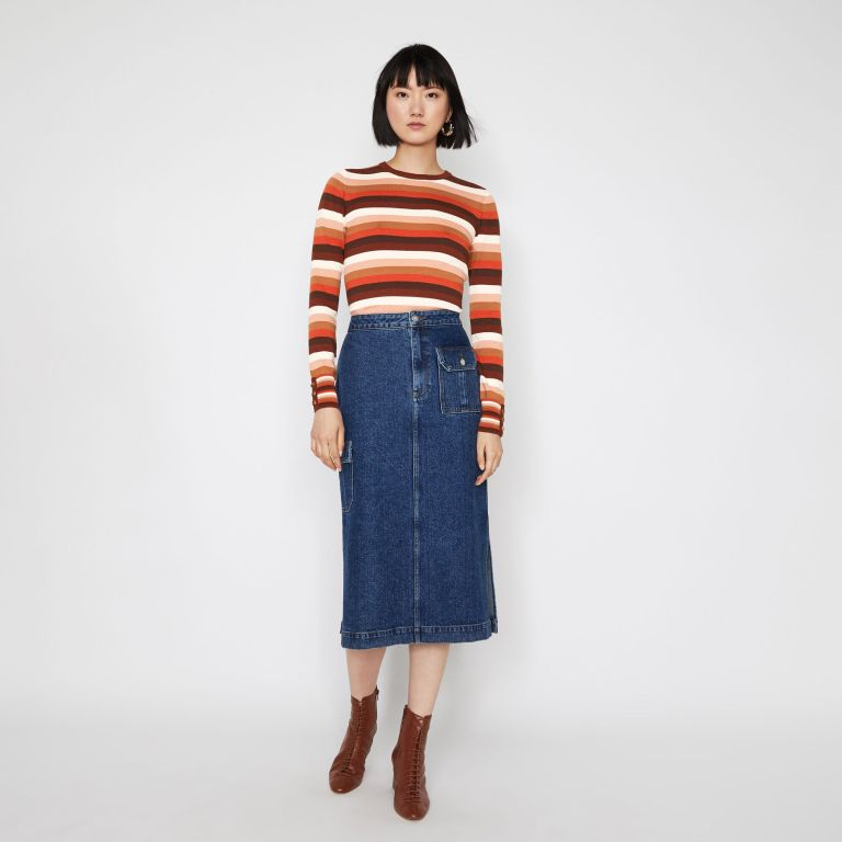 Warehouse Stripe Button Cuff Jumper