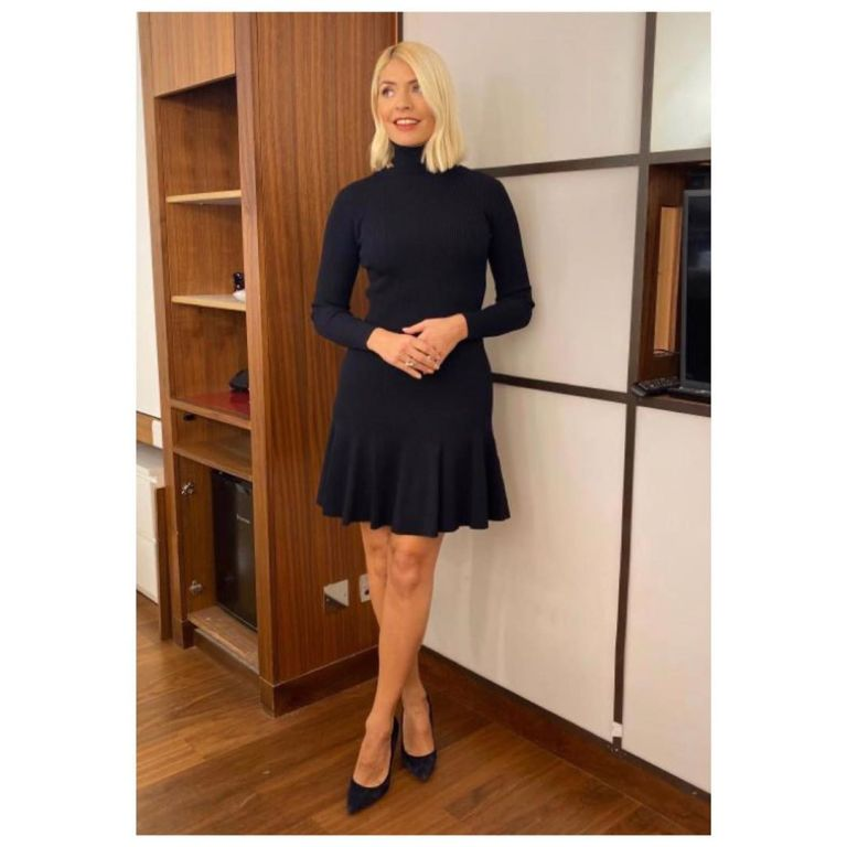 where to find Holly Willoughby black knitted polo neck zip dress This Morning 19 November 2019 Photo Holly Willoughby