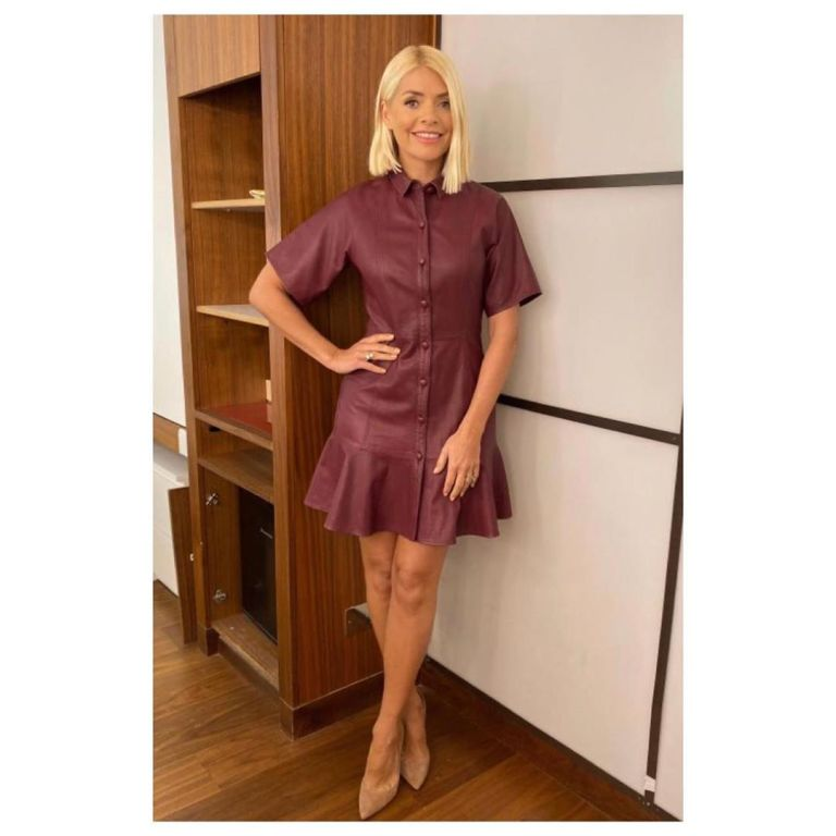 where to find Holly Willoughby burgundy leather mini dress This Morning outfit today November 2019 Photo Holly Willoughby