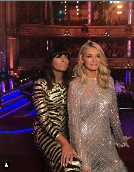 where to get Claudia winkleman gold tiger stripe dress Tess Daly white sequin dress Strictly 17 November 2019 Photo Tess Daly