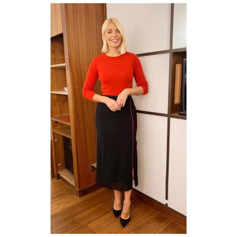 Where to get Holly Willoughby black and crimson pencil skirt crimson jumper This Morning outfit today 12 November 2019 Photo Holly Willoughby