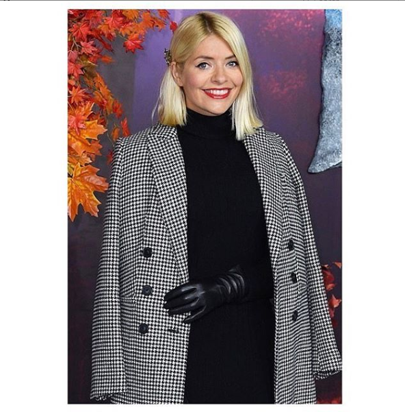 where to get holly Willoughby black and white dogtooth coat black dress Frozen 2 17 November 2019 Photo Marks and Spencer