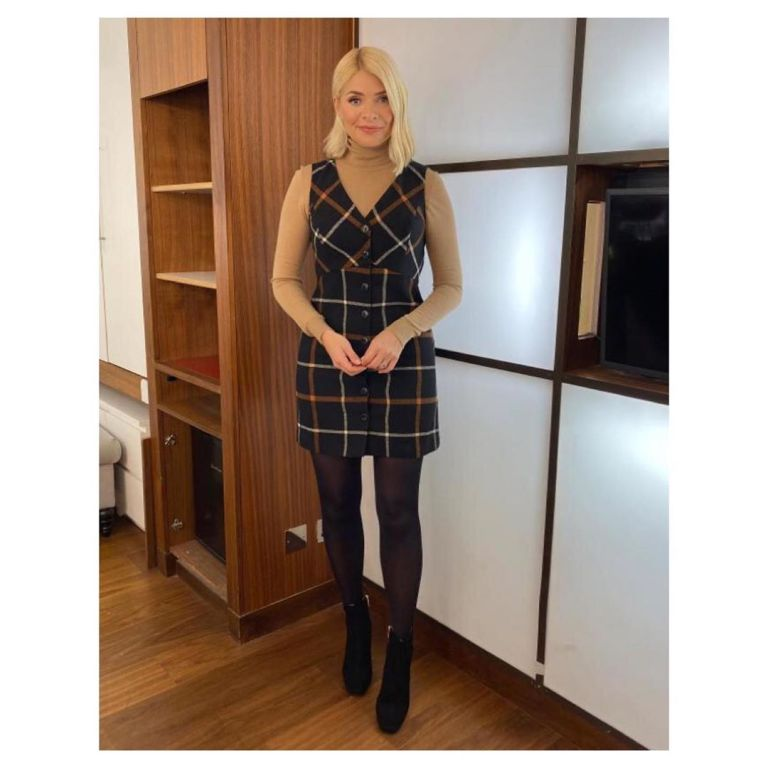 where to get Holly Willoughby black check button front mini dress camel knitwear black ankle boots This Morning outfit today 28 November 2019 Photo Holly Willoughby