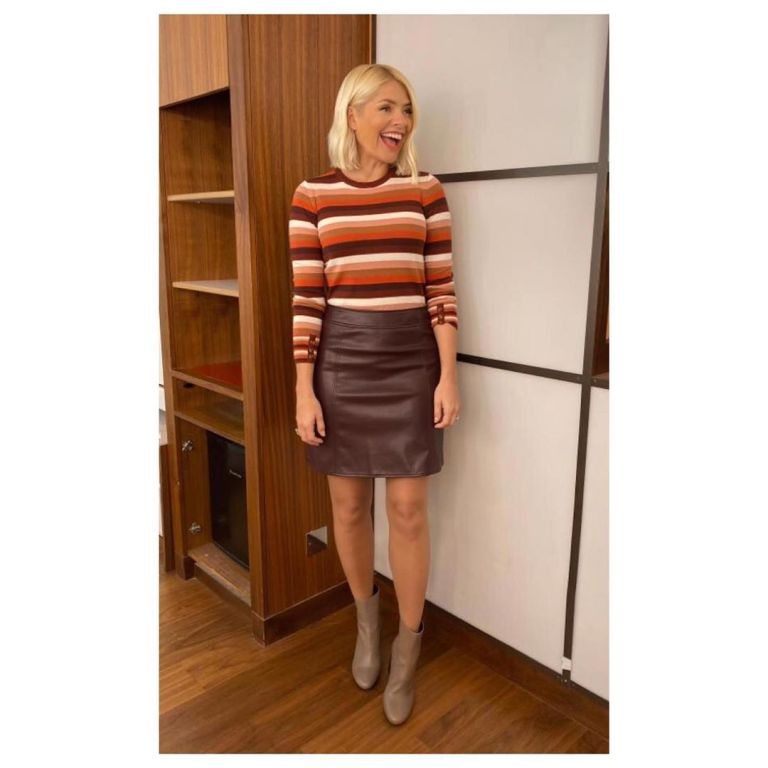 where to get Holly Willoughby brown faux leather mimi skirt browm striped jumper brown ankle boots This Morning outfit today 13 November 2019 Photo Holly Willoughby
