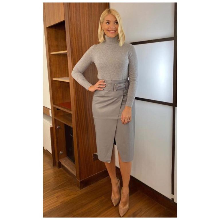 where to get holly Willoughby grey D ring wrap skirt grey polo neck This Morning outfit today 21 November 2019 Photo Holly Willoughby