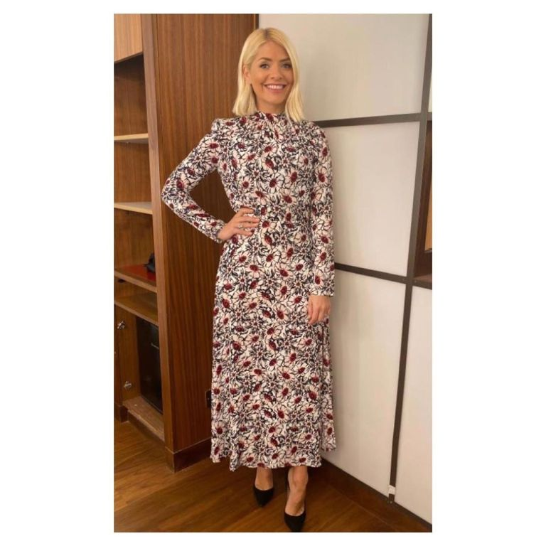 Where to get Holly Willoughby multi colour floral dress This Morning outfit today 14 November 2019 Photo Holly Willoughby