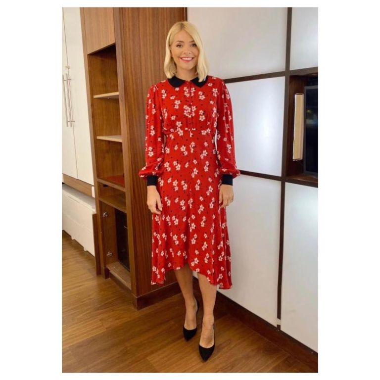 where to get holly willoughby red floral dress black collar This morning 25 november 2019 Photo Holly Willoughby