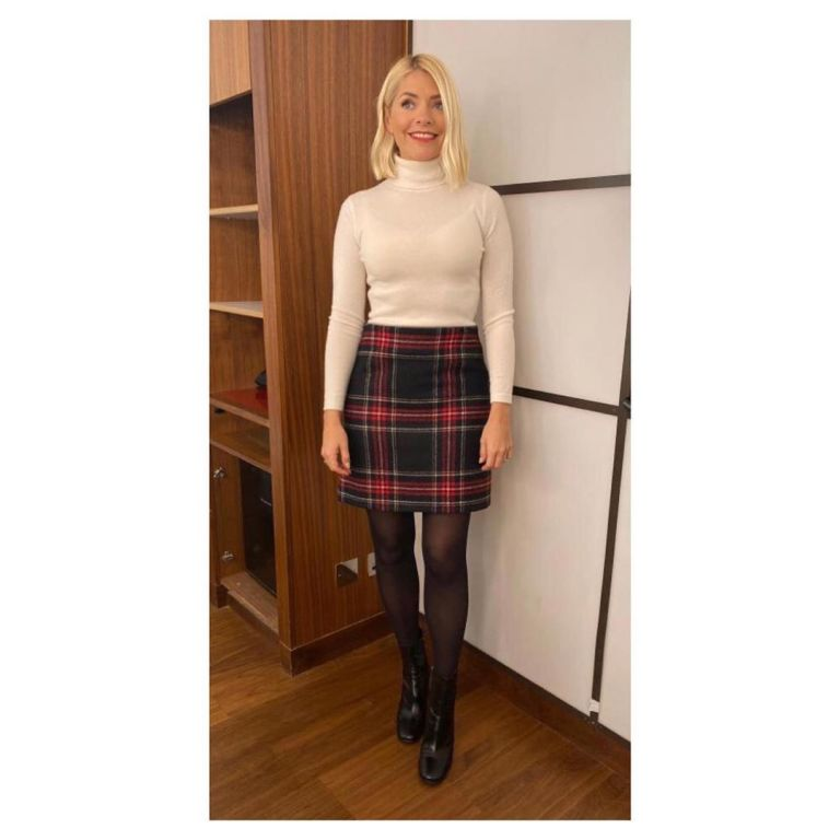 where to get Holly willoughby This Morning black and red tartan mini skirt off white polo neck black ankle boots 18 November 2019 Photo Holly Willoughby