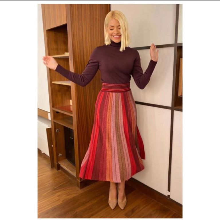where to get Holly Willoughby This Morning outfit today red metallic striped skirt plum polo neck November 2019 Photo Holly Willoughby
