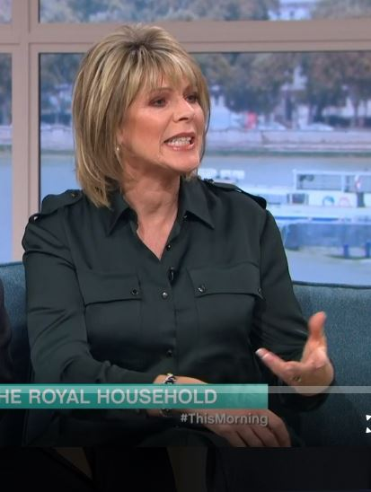 where to get Ruth Langsford bottle green utility shirt dress This Morning outfit 22 November 2019 Photo ITV com