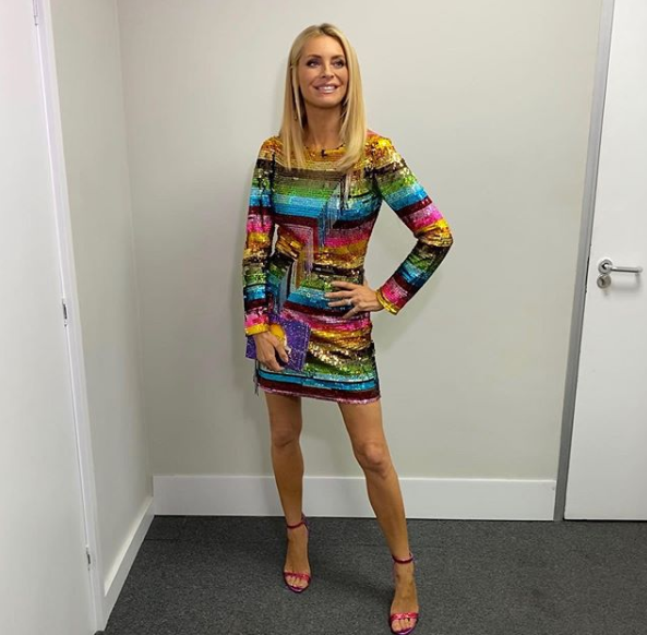 where to get Tess Daly sequin rainbow dress Strictly outfit 30 November 2019 photo Tess Daly