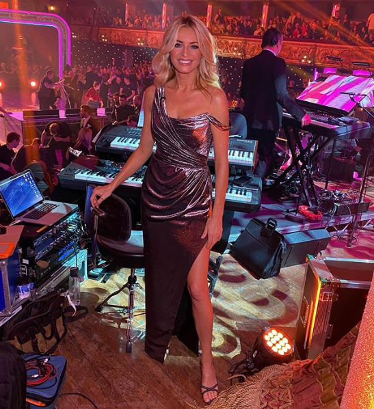 where to get tess Daly silver pink metallic one shoulder gown Strictly 16 November 2019 photo Tess Daly