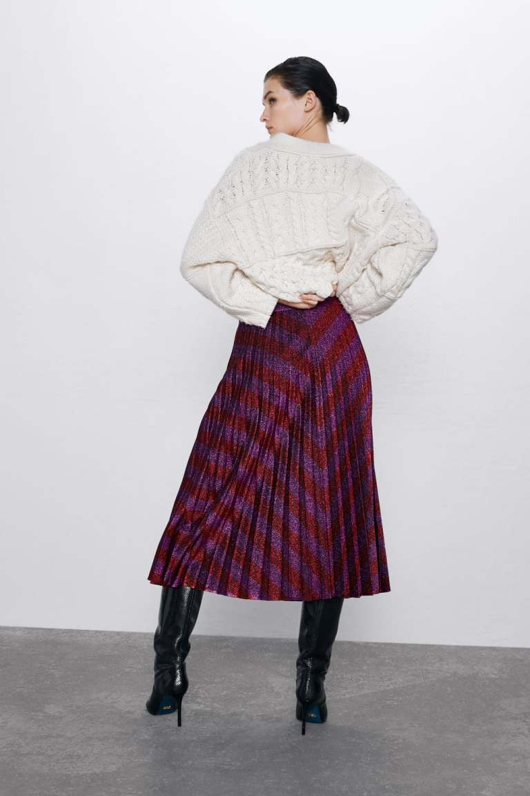Zara Pleated Metallic Thread Skirt back view