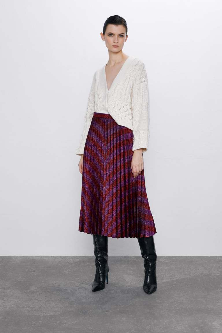 Zara Pleated Metallic Thread Skirt