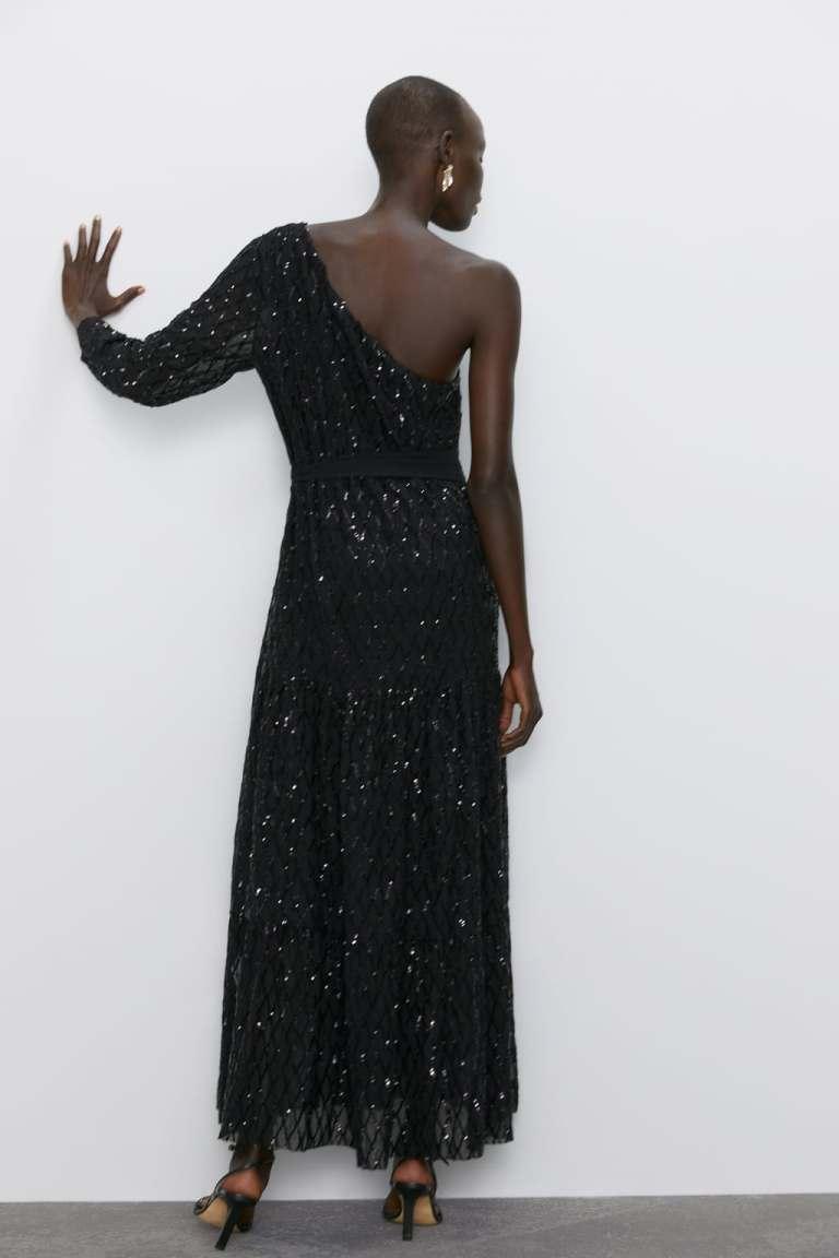 Zara Sequinned Asymmetric Dress back view