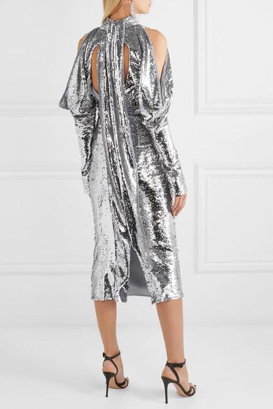 16ARLINGTON Cold-shoulder sequined tulle turtleneck midi dress back view