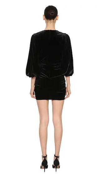 Alexandre Vauthier V Neck Draped Stretch Velvet Mini Dress back view