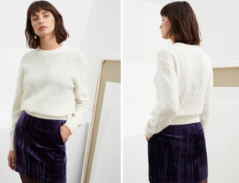 And Other Stories Pearl Embellished Diamond Knit Sweater