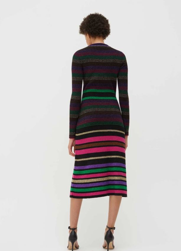 Chinti & Parker Black Lurex Striped Merino Wool Dress back view