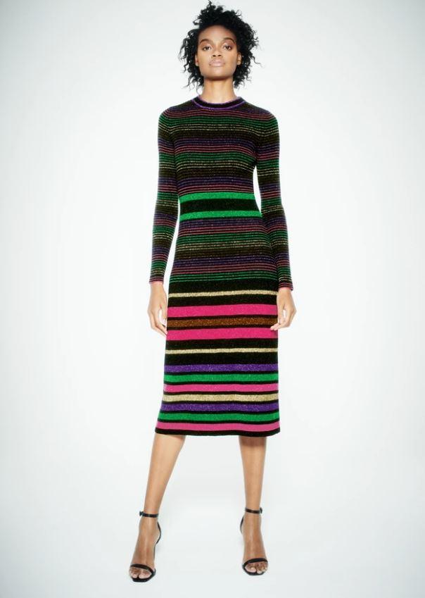 Chinti & Parker Black Lurex Striped Merino Wool Dress