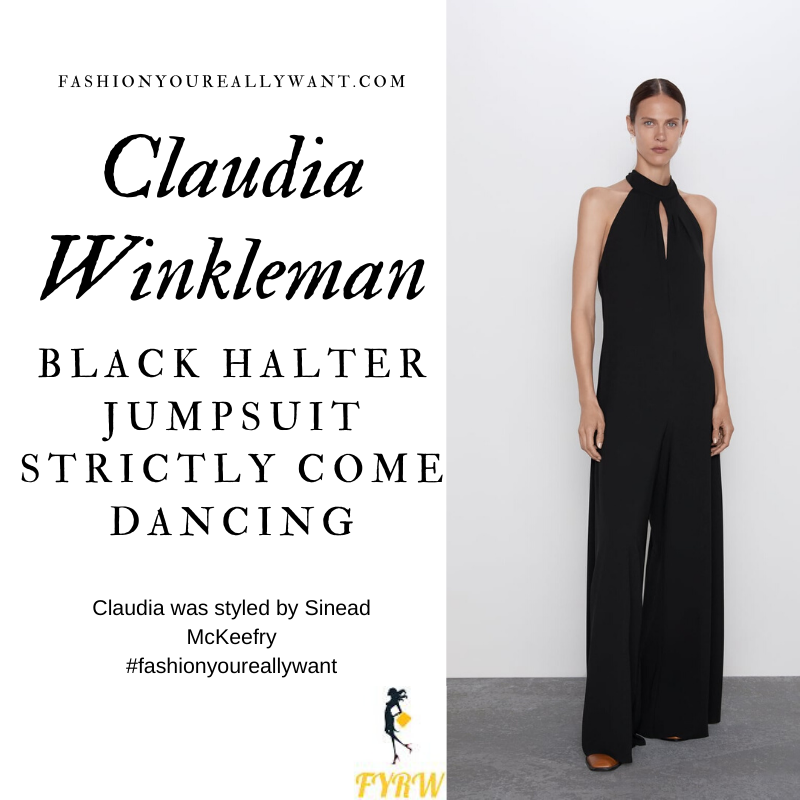 Claudia Winkleman Wore this black halter neck tie neck jumpsuit on the Strictly Come Dancing Semi Final Results Show today where to get all her outfits December 2019