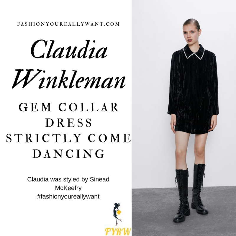 Claudia Winkleman Wore This Crystal Gem Collar Black Velvet Dress on Strictly Come Dancing Week 11 Results Show outfit blog December 2019