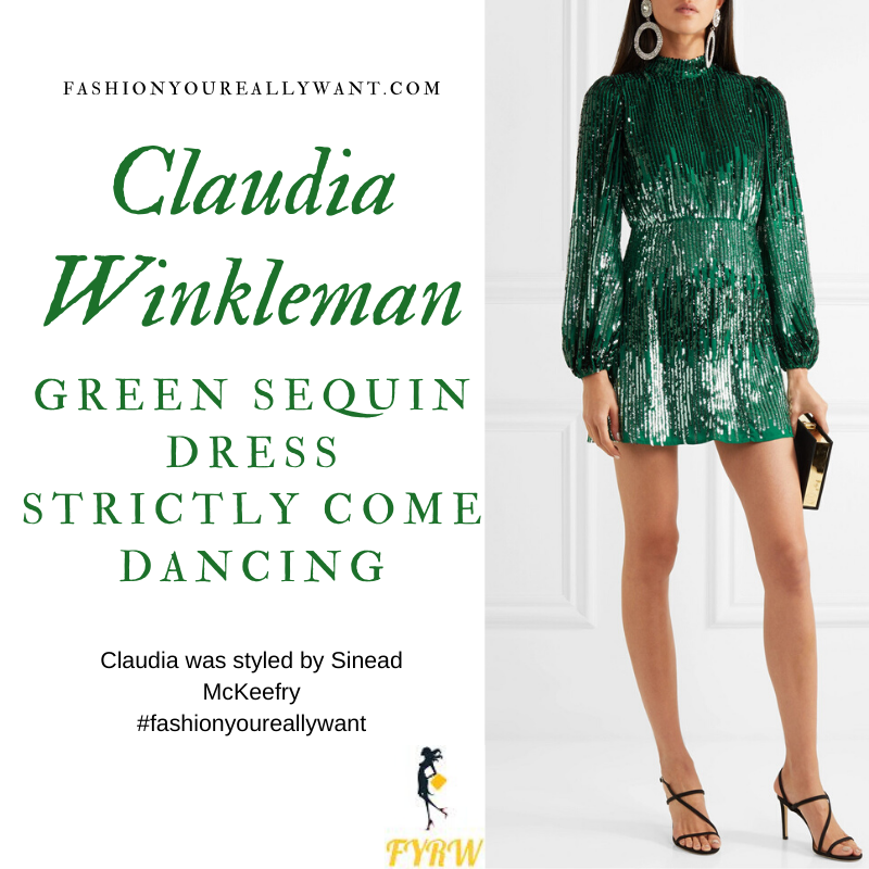 Claudia Winkleman Wore This Green Sequin Dress for the Strictly Come Dancing Christmas Special 2019 where to get All her outfits