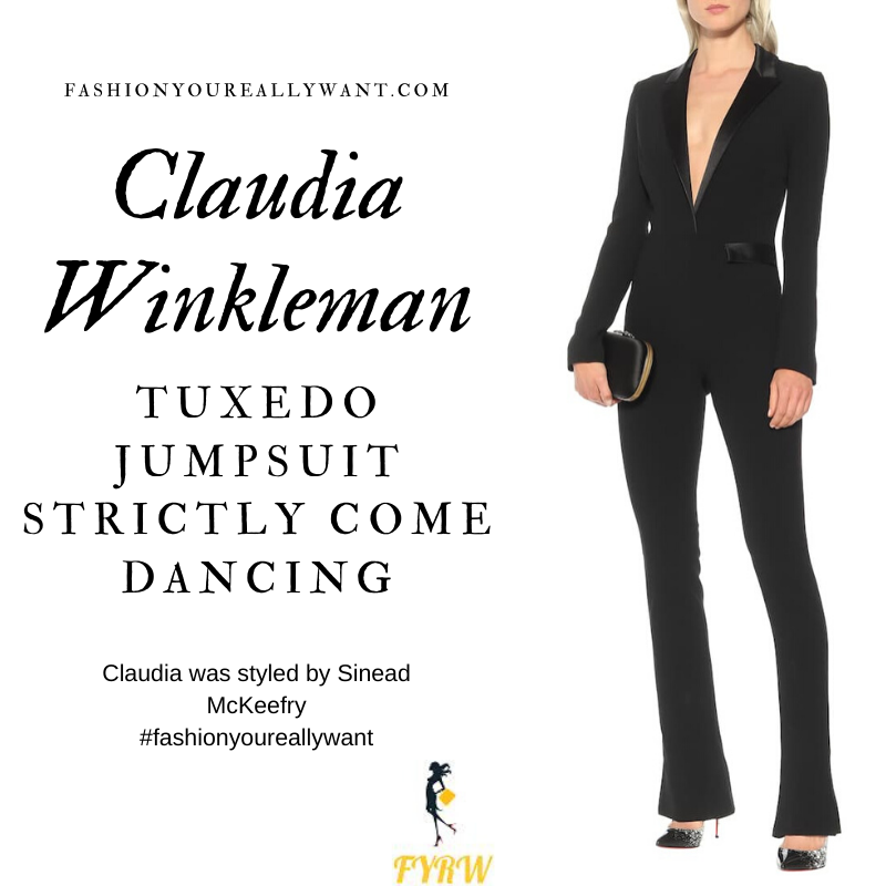 Claudia Winkleman Wore This black satin lapel tuxedo jumpsuit on Strictly Come Dancing Week 12 December 2019 where to get her outfits