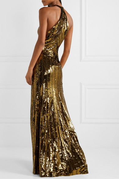 Galvan - Cutout Sequined Tulle Gown back view