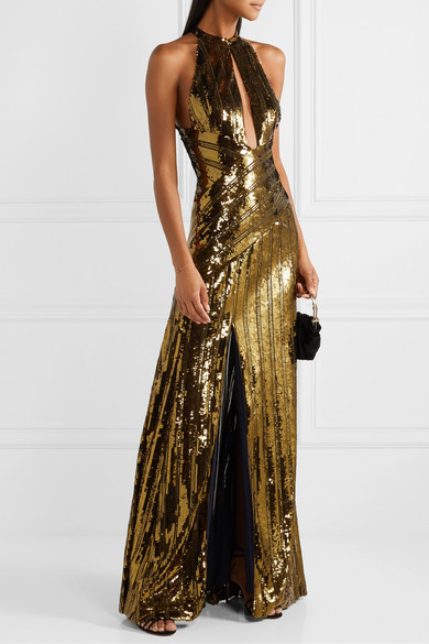 Galvan - Cutout Sequined Tulle Gown