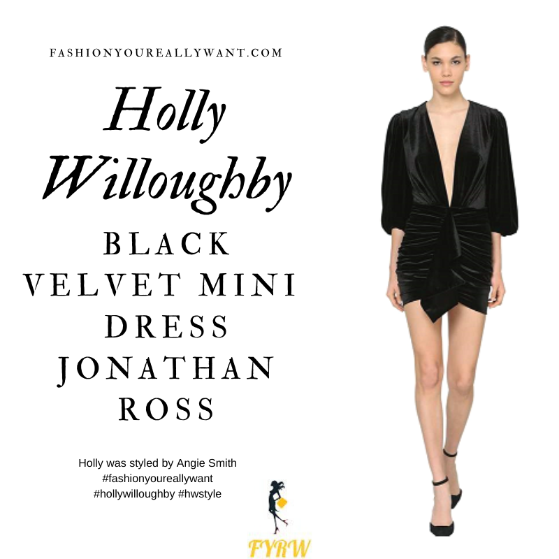 Holly Willoughby Wore This Black Velvet Mini Dress with black platform sandals for The Jonathan Ross Show December 2019 where to get all her outfits
