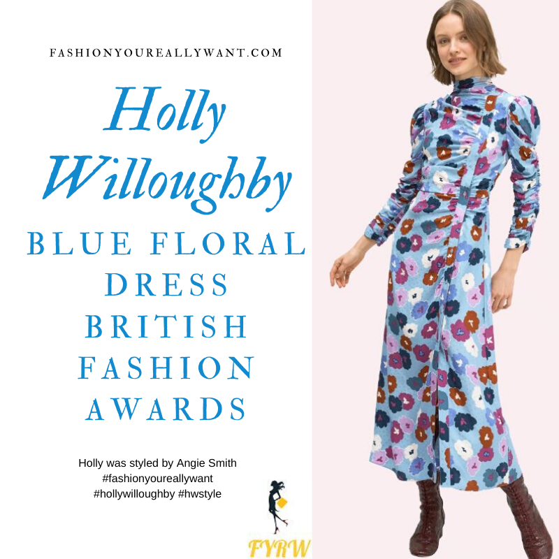 Holly Willoughby wore This Blue Floral Dress for the British Fashion Awards December 2019 where to get all her outfits