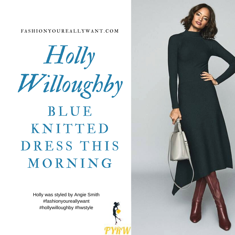Holly Willoughby Wore This Blue Teal Turtleneck Knitted dress with nude sued court shoes on  This Morning today where to get all her outfits December 2019