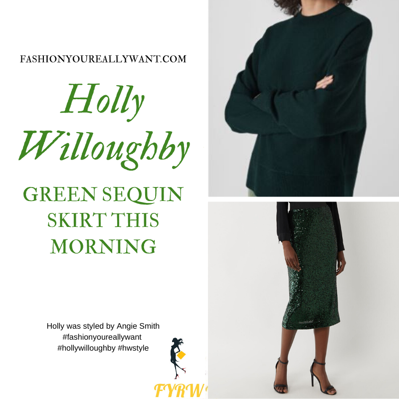 Holly Willoughby wore This green sequin skirt with a green polo neck jumper on  This Morning today where to get her outfits December 2019