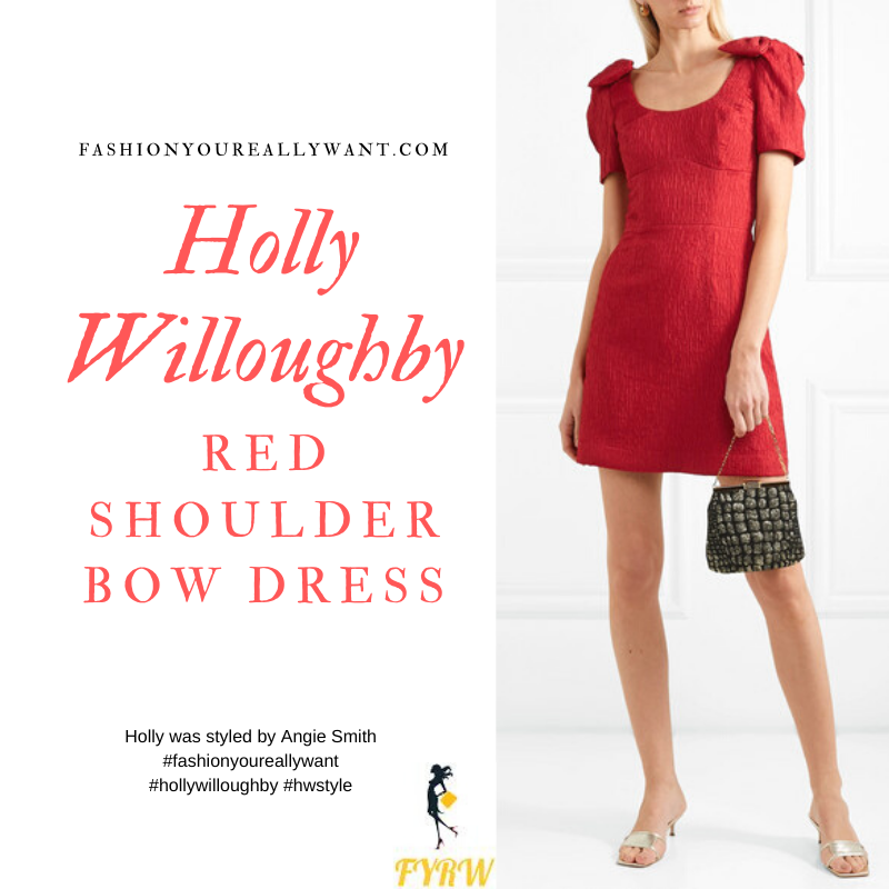 Holly Willoughby Wore This  Red Shoulder Bow Dress to Emma Buntons Albert Hall Concert December 2019 where to get all her outfits