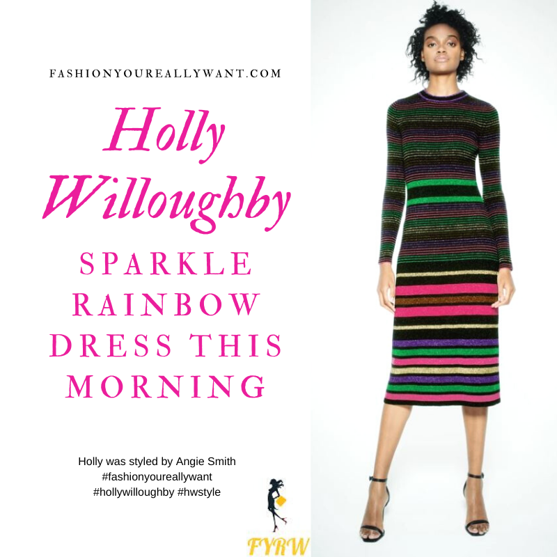 Holly Willoughby Wore This Sparkle Rainbow Dress on  This Morning today where to get all her outfits blog December 2019