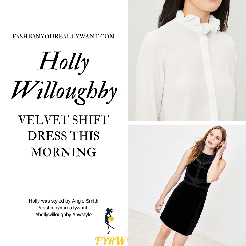 Holly Willoughby Wore This black velvet shift dress with ecru frill blouse and black ankle boots on  This Morning today where to get all her outfits December 2019