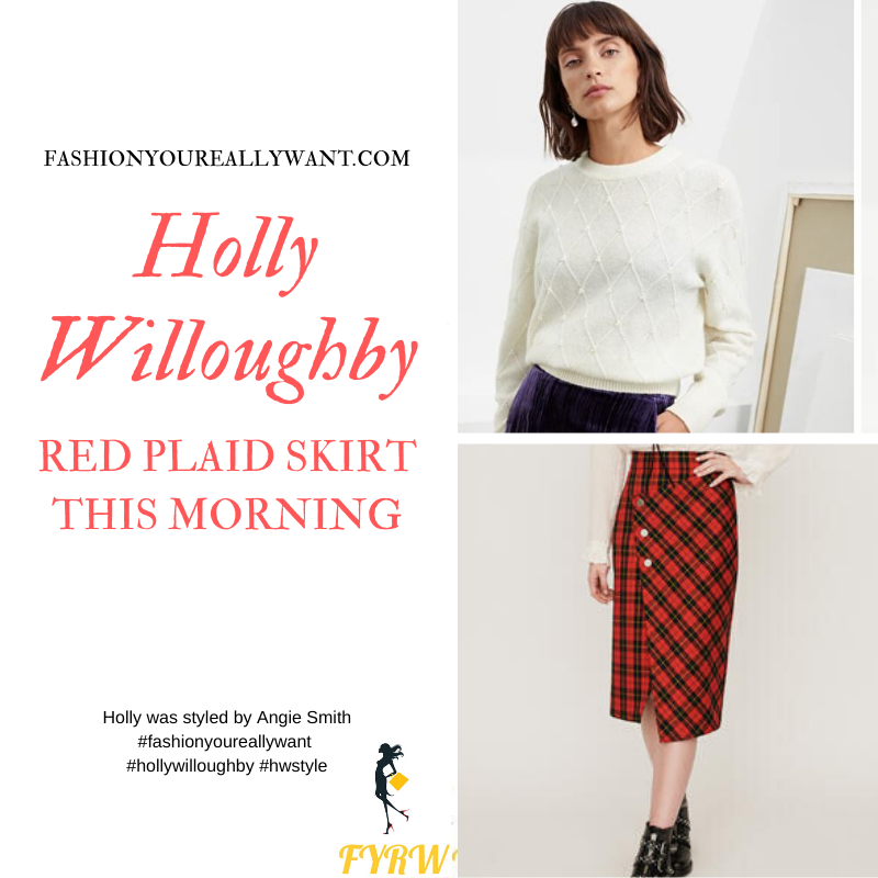 Holly Willoughby Wore This Red Plaid Skirt with a white diamond pattern pearl jumper on  This Morning today where to get all her outfits blog December 2019
