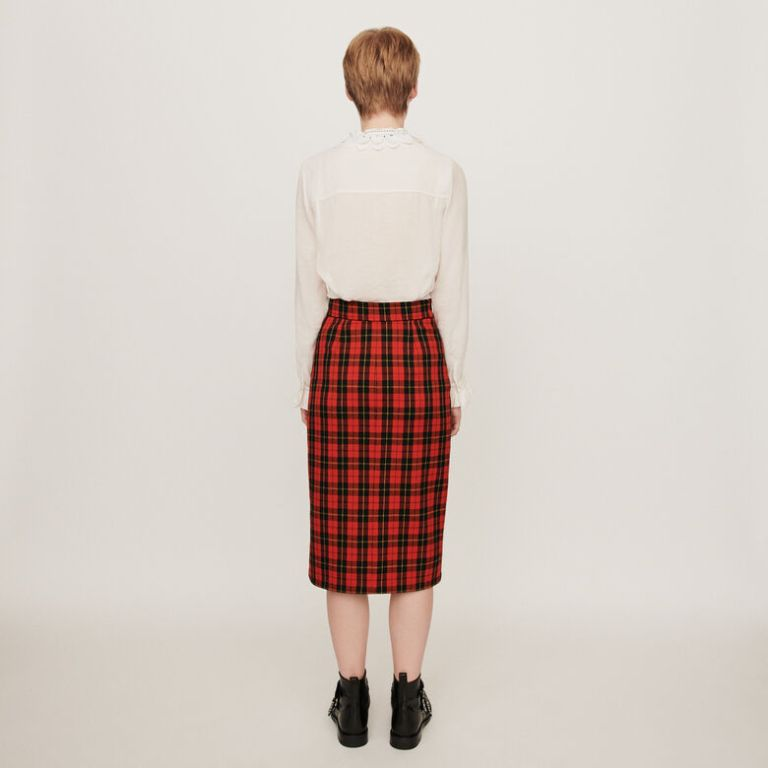 Maje Asymmetrical Plaid Skirt back view