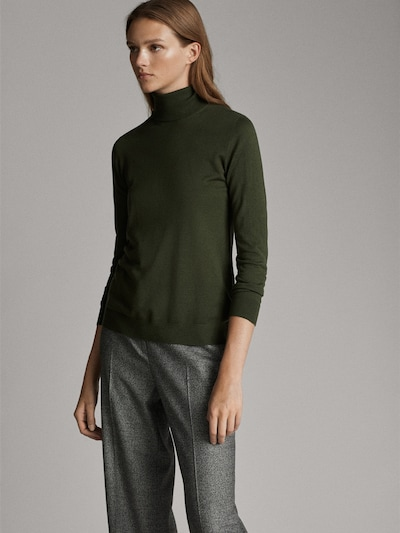 Massimo Dutti Plain Silk Wool Sweater green