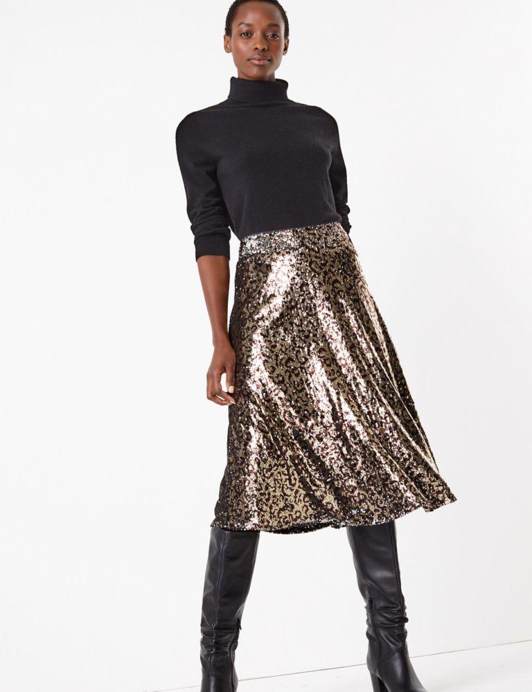 M&S Collection Marks and Spencer Sequin Animal Print Slip Midi Skirt v2