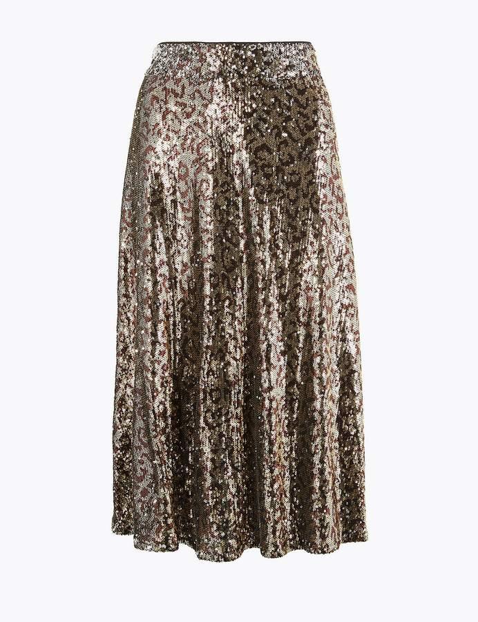 M&S Collection Marks and Spencer Sequin Animal Print Slip Midi Skirt.jpg