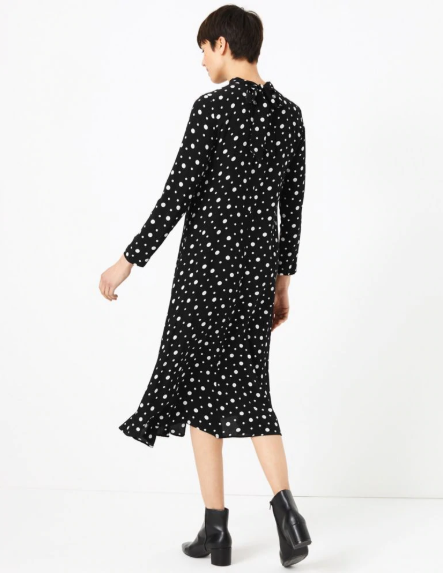 M&S Collection Polka Dot Relaxed Midi Dress back view